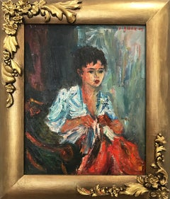 """Girl Sewing"" Impressionist Portrait of a Seated Girl Oil Painting on Canvas"