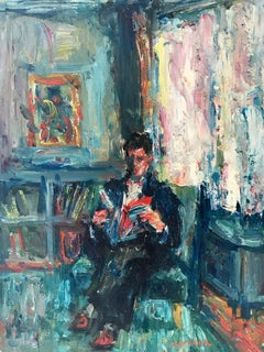 """In the Library"" Post-Impressionism French Oil Painting of Figure Reading"