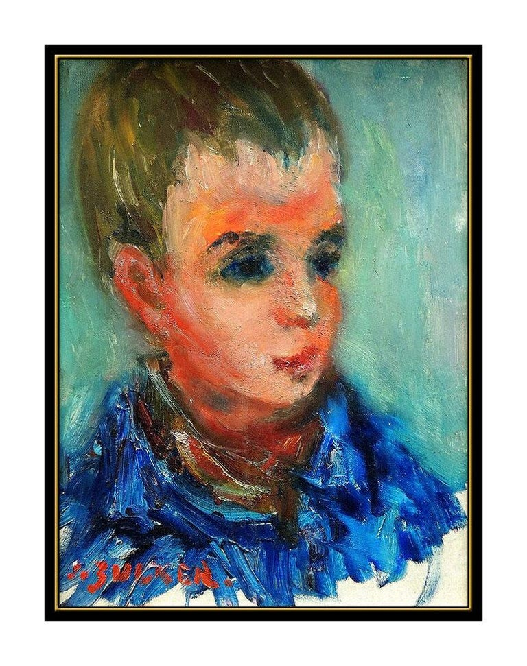 JACQUES ZUCKER ORIGINAL Painting Oil on Canvas Child Portrait Artwork Signed SBO - Black Portrait Painting by Jacques Zucker