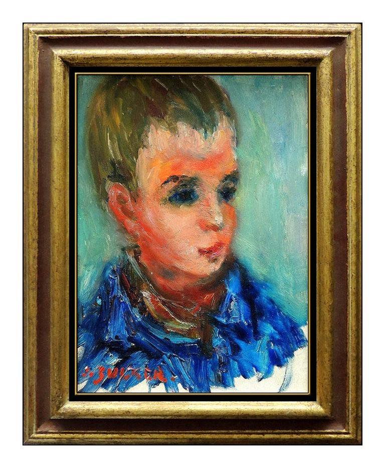 Jacques Zucker Portrait Painting - JACQUES ZUCKER ORIGINAL Painting Oil on Canvas Child Portrait Artwork Signed SBO