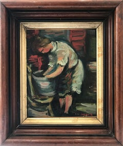"""Laundry"" Post-Impressionism French Oil Painting on Canvas of Figure and Laundry"