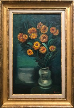 """Orange Flowers with Green Vase"" Post-Impressionism Still Life Oil Painting"