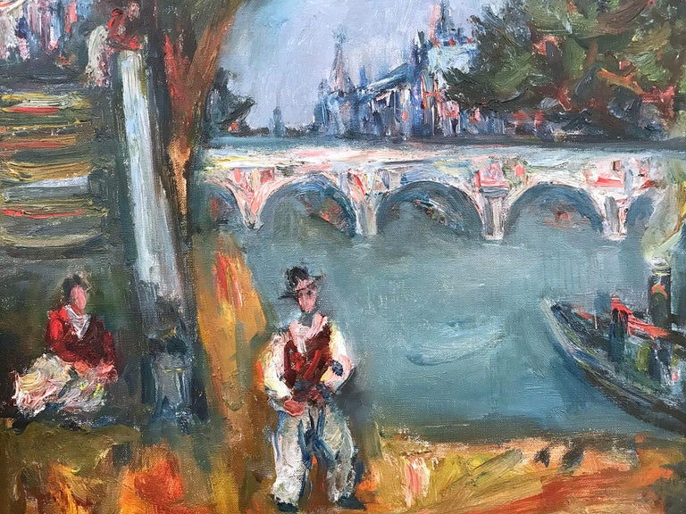 This painting depicts a landscape scene of a Parisian Scene by Pont Neuf with Notre Dam in the distance behind the bridge. The attractive perspective is what makes this painting so interesting and desirable; there is a stairwell to the left with