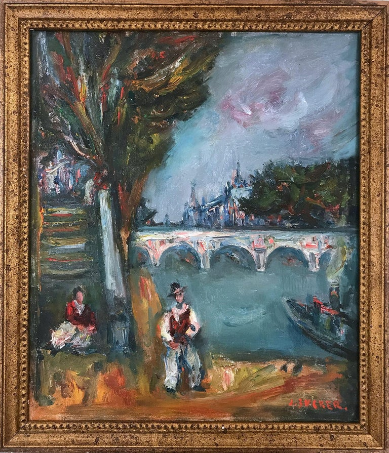 """Jacques Zucker Landscape Painting - """"Parisian Scene by Pont Neuf with Notre Dam"""" French Impressionist Oil Painting"""