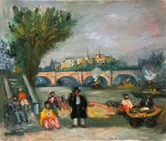 """""""Parisian Scene by Pont Neuf with Notre Dam"""" Post-Impressionism Oil Painting"""