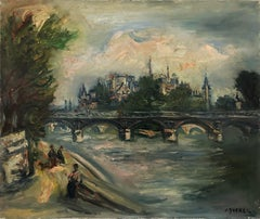 """Pont des Arts with Notre Dame"" 20th Century French Oil Painting"