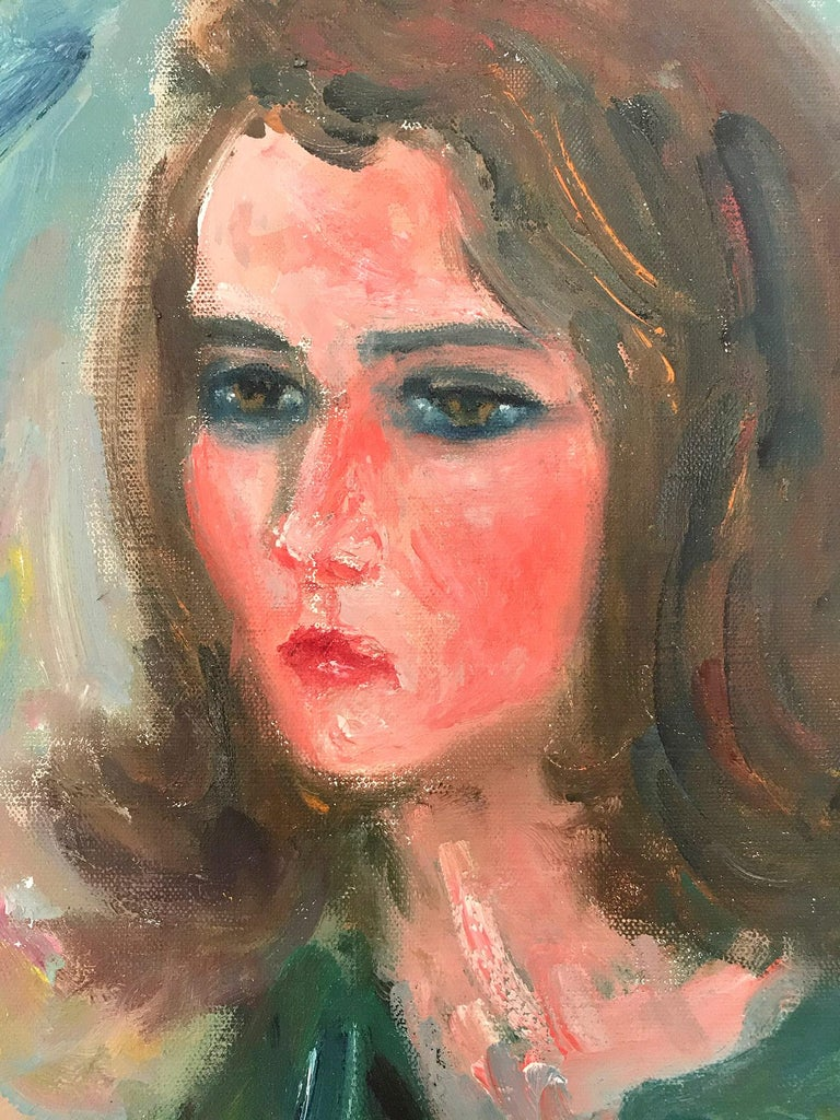 This painting depicts a whimsical portrait of a young lady with brown hair against a blue green background. The bright colors used and quick brush strokes are what makes this painting so attractive and desirable. The piece is done in a highly