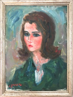 """""""Portrait in Green"""" Post-Impressionism French Oil Painting on Canvas"""