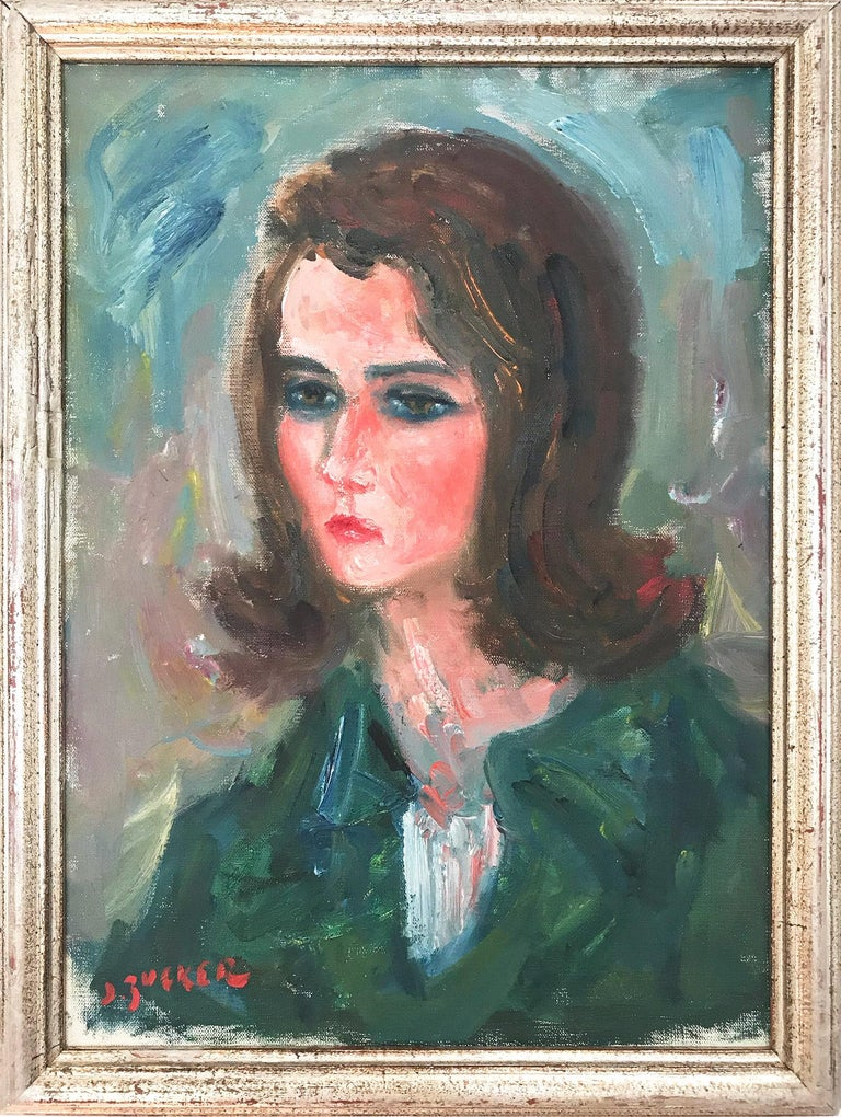"Jacques Zucker Portrait Painting - ""Portrait in Green"" Post-Impressionism French Oil Painting on Canvas"