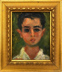 """Portrait of a Young Boy"" Post-Impressionism French Oil Painting on Panel"