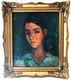 """Portrait of a Young Girl"" Post-Impressionism French Oil Painting on Canvas"