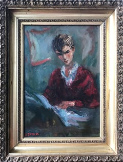 Portrait of a Young Man Reading, Impressionistic Oil Painting