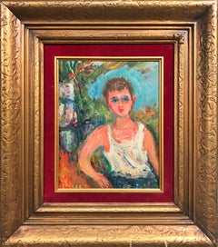 """Portrait of Young Boy"" Post-Impressionism French Oil Painting on Board"