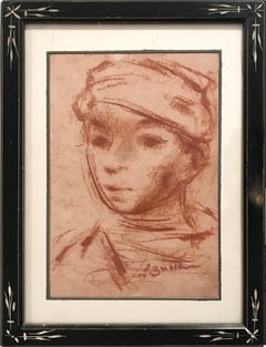 """Portrait of Young Boy"" Post-Impressionism French Sepia Chalk Painting on paper"