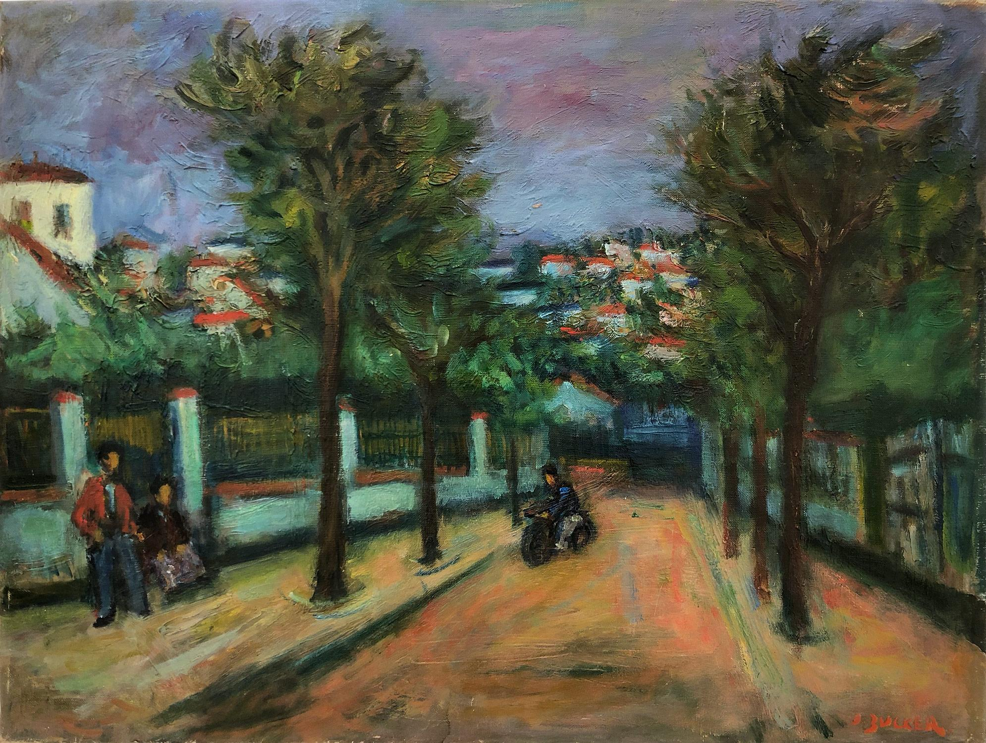 """""""Riding Through Town""""  Post-Impressionism French Village Oil Painting on Canvas"""