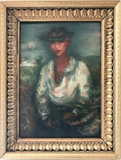 """""""Self Portrait"""" Post-Impressionism French Oil Painting on Board of Figure"""