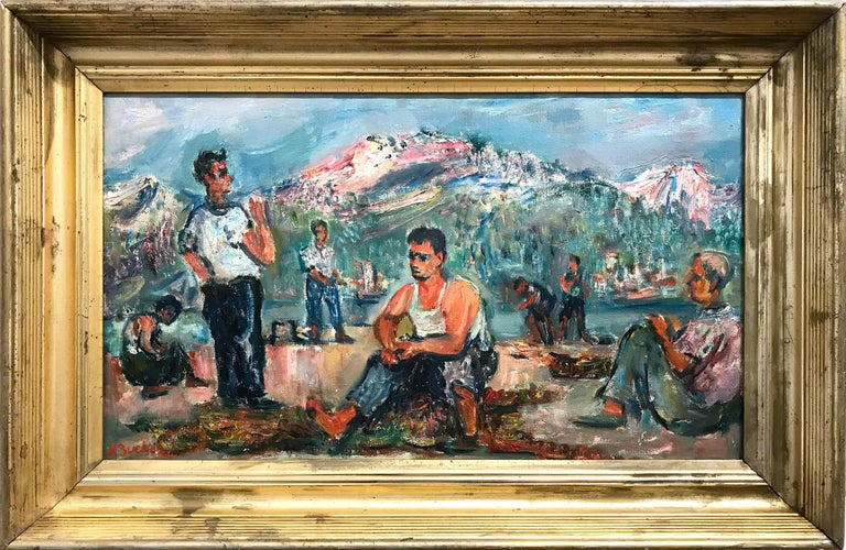 "Jacques Zucker Landscape Painting - ""The Workers"" Post-Impressionism Scene with Figures Oil Painting on Canvas"