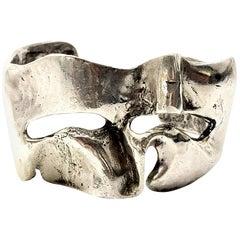JAD Sterling Silver Brutalist Freeform Cuff Bracelet