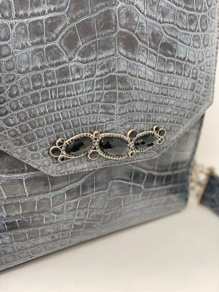Black Jada Loveless Crocodile Bag For Sale