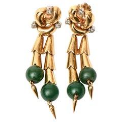 Jade, 14 Karat Rose Gold and Diamond Retro Pierced Dangle Earrings