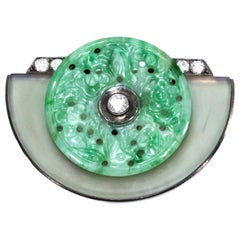 Jade 1920s French Art Deco Diamond Onyx Rock Crystal Carved Bi Disc Bird Brooch