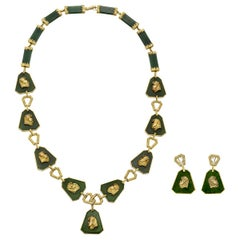 Jade and 14 Karat Gold Necklace with Earrings