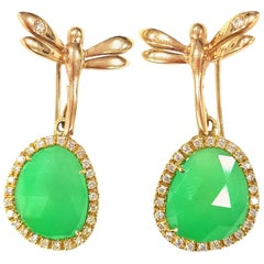 Jade and 18 Karat Gold Dragonfly Earrings