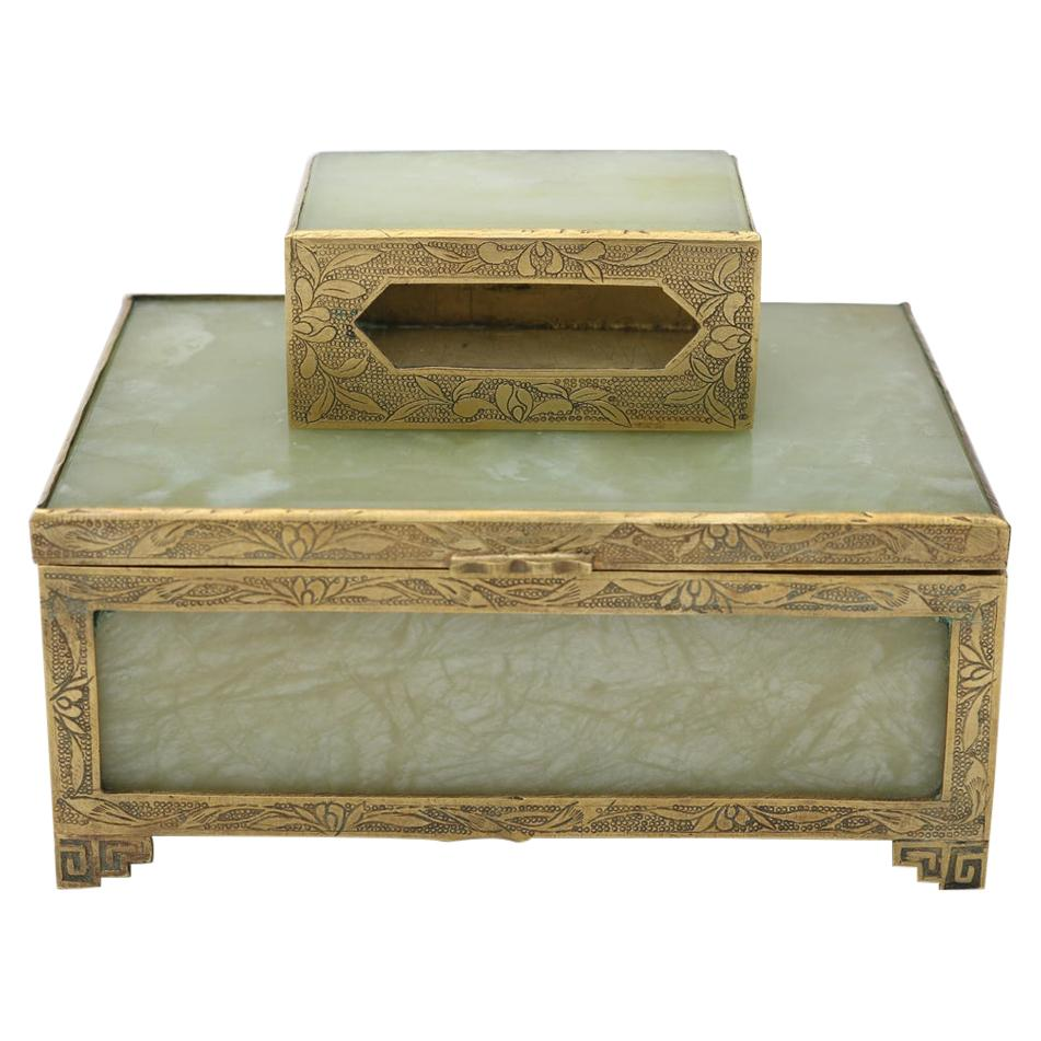 Jade and Brass Box and Match Box