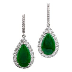 Jade and Diamond Cluster Drop Earrings
