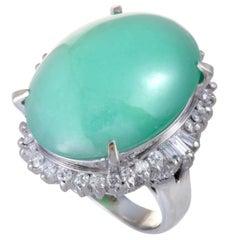Jade and Diamond Platinum Cocktail Ring