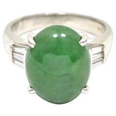 Jade and Diamond Platinum Ring