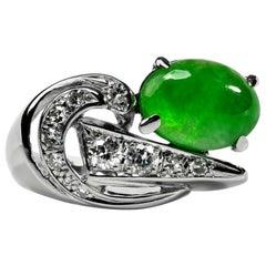 Jade and Diamond Ring Certified Untreated Retro Era