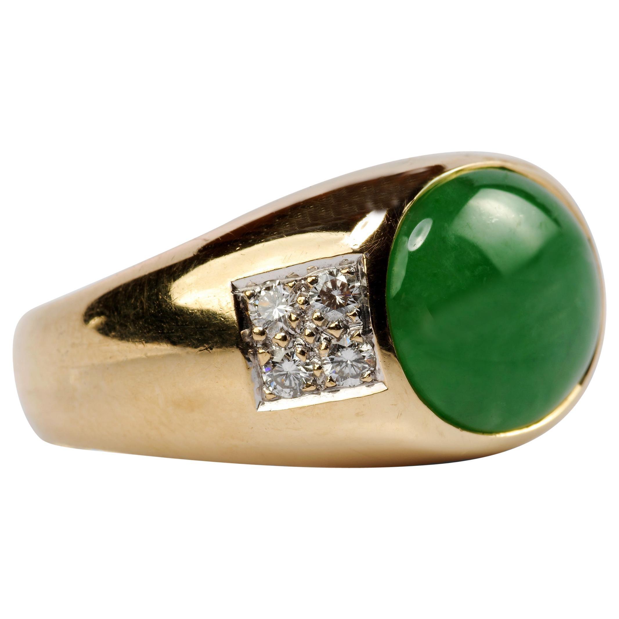 Jade and Diamond Ring circa 1980s Certified Untreated