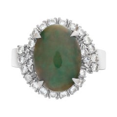 Jade and Diamond Ring in 14k White Gold with Approximately 0.50 Cts in Diamonds