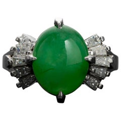 Jade and Diamond Ring in Platinum Midcentury GIA Certified Untreated