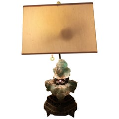 Jade and Nephrite Carved Hard Stone Translucent Lamp on Reticulated Bronze Base