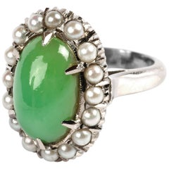 Jadeite & Pearl Midcentury Ring Certified Untreated