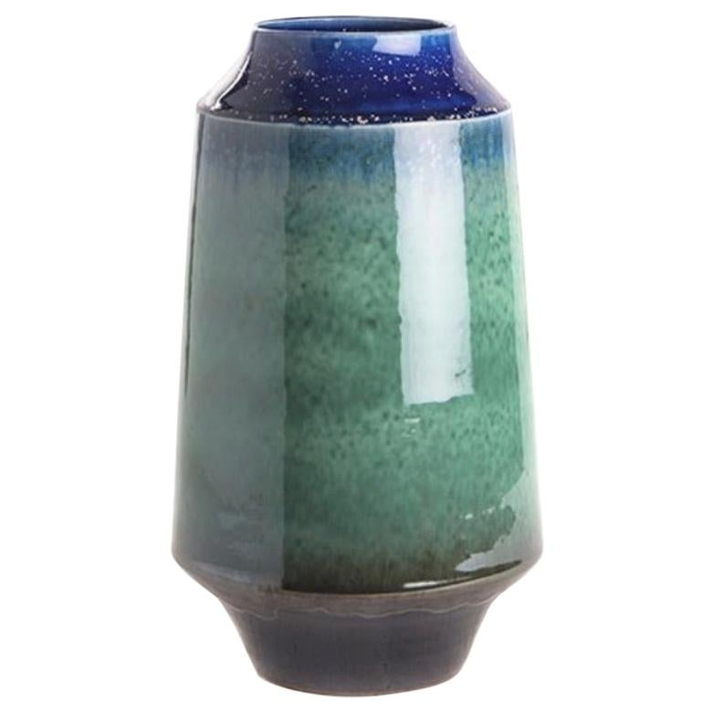 Jade and Royal Blue Cylinder Shaped Vase, China, Contemporary
