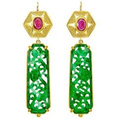Jade and Ruby Earrings 22 Karat Gold 20 Karat Gold 18 Karat Gold