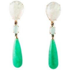 Jade and Sapphire Prinite Green Chandelier Earring with Yellow Gold 18 Carat