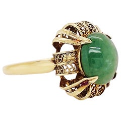 Jade Antique Ring, Jadeite Jade Ring in 14K Yellow Gold, Antique Filigree Ring