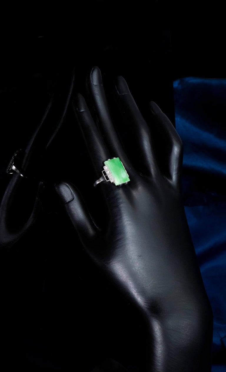 Jade Art Deco 1920s French Hallmarked Platinum Onyx Diamond Set Carat Large Ring For Sale 5