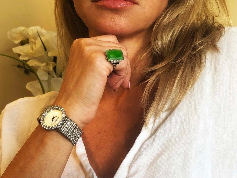 Jade Art Deco 1920s French Hallmarked Platinum Onyx Diamond Set Carat Large Ring For Sale 6
