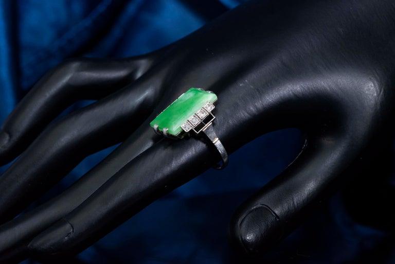 Jade Art Deco 1920s French Hallmarked Platinum Onyx Diamond Set Carat Large Ring For Sale 7