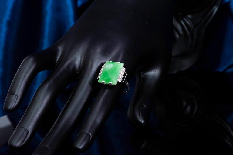 Jade Art Deco 1920s French Hallmarked Platinum Onyx Diamond Set Carat Large Ring For Sale 8