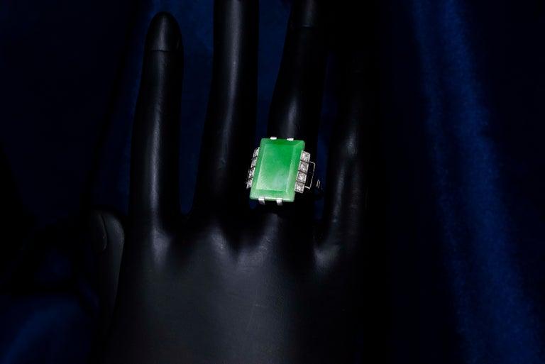 Jade Art Deco 1920s French Hallmarked Platinum Onyx Diamond Set Carat Large Ring For Sale 10