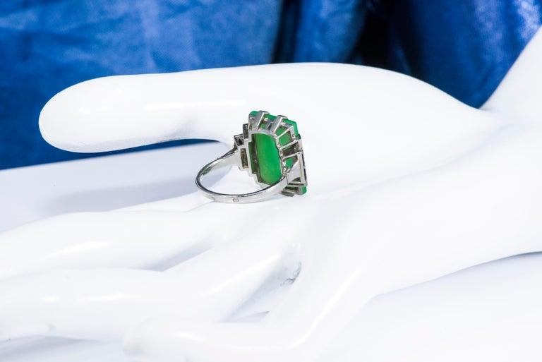 Jade Art Deco 1920s French Hallmarked Platinum Onyx Diamond Set Carat Large Ring For Sale 11