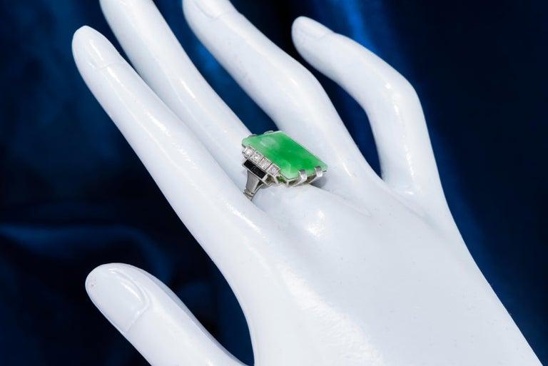 Jade Art Deco 1920s French Hallmarked Platinum Onyx Diamond Set Carat Large Ring For Sale 12