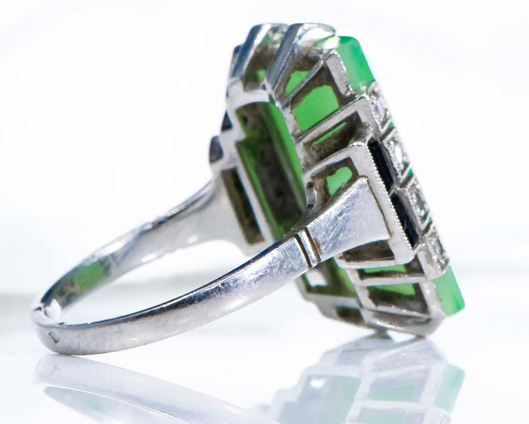 Jade Art Deco 1920s French Hallmarked Platinum Onyx Diamond Set Carat Large Ring For Sale 13
