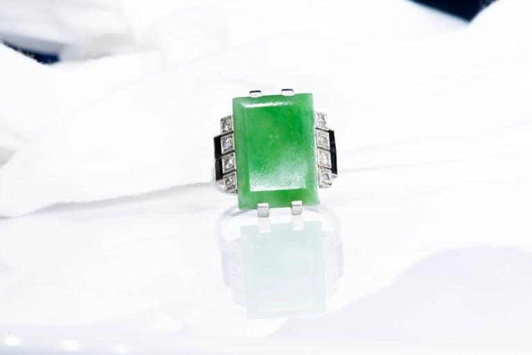 Jade Art Deco 1920s French Hallmarked Platinum Onyx Diamond Set Carat Large Ring For Sale 14